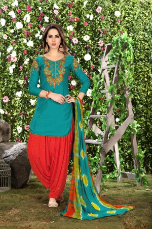 Desirable Rama Green Glaze Cotton Heavy Embroidery on Neck and Sleeve Dress Material