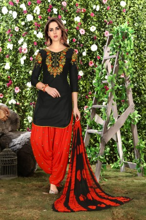 Beguiling Black Glaze Cotton Heavy Embroidery on Neck and Sleeve Dress Material