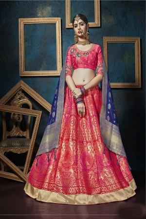 Glossy Ranipink Pure silk Jacquard Designer Weaving Jacquard Lehenga with Embroidery Blouse Lehenga Choli