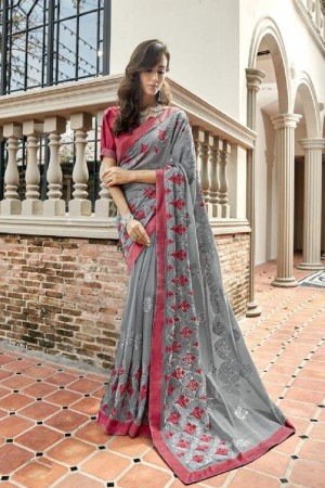 Trendy Grey Faux georgette Embroidery and Lace Border Saree