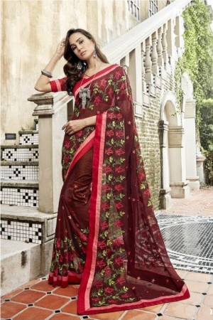Versatile Brown Faux georgette Embroidery and Lace Border Saree