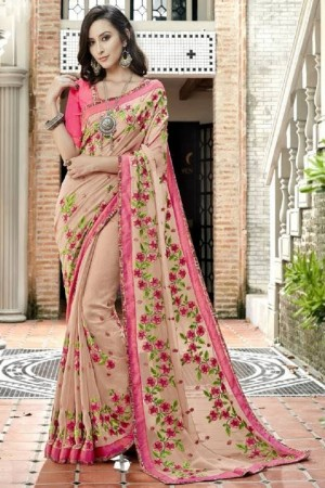 Charming Cream Faux georgette Embroidery and Lace Border Saree