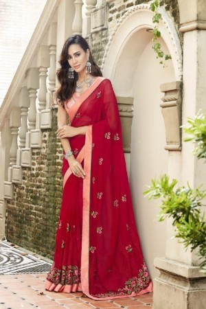 Dazzling Red Faux georgette Embroidery and Lace Border Saree