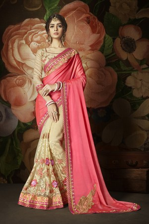Impressive Cream&Pink Rangoli Silk & Net Heavy Embroidery Panel Work and Lace Border with Embroidered Blouse Saree