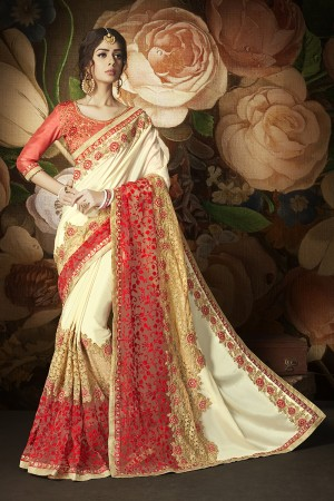 Peppy Cream Papper Silk & Net Heavy Embroidery Panel Work and Lace Border with Embroidered Blouse Saree