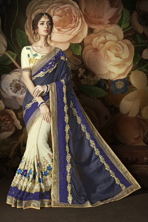 Fab Offwhite&Blue Hilton Silk & Kathi Silk Heavy Embroidery Panel Work and Lace Border with Embroidered Blouse Saree