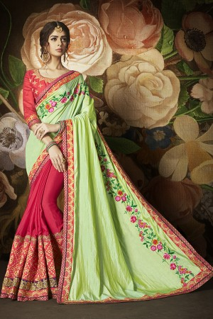 Graceful Red&ParrotGreen Papper Silk & Chinon Heavy Embroidery Panel Work and Lace Border with Embroidered Blouse Saree