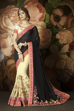 Bewitching Cream&Black Georgette Heavy Embroidery Panel Work and Lace Border with Embroidered Blouse Saree