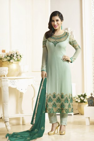 Sophie Choudry Pista Green Georgette Heavy Embroidery on Neck and Sleeve with Lace Border Salwar Kameez