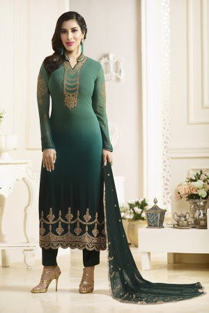 Sophie Choudry DarkGreen Georgette Heavy Embroidery on Neck and Sleeve with Lace Border Salwar Kameez