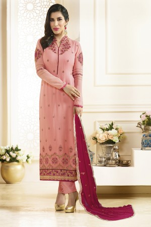 Sophie Choudry Salomon Georgette Heavy Embroidery on Neck and Sleeve with Lace Border Salwar Kameez