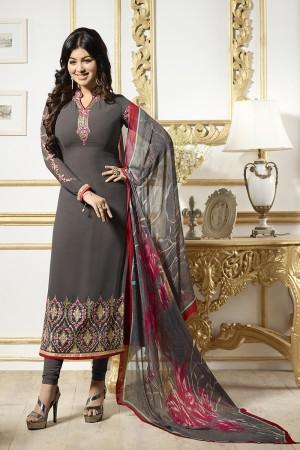 Ayesha Takia Coffee Georgette Heavy Embroidery on Neck and Sleeve Salwar Kameez