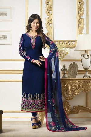 Ayesha Takia Blue Georgette Heavy Embroidery on Neck and Sleeve Salwar Kameez