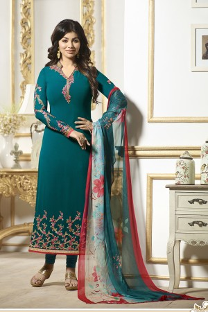 Ayesha Takia Marin Blue Georgette Heavy Embroidery on Neck and Sleeve Salwar Kameez