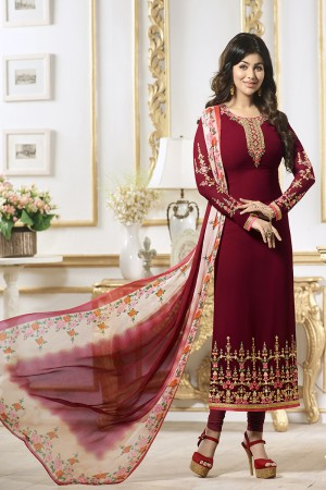 Ayesha Takia Maroon Georgette Heavy Embroidery on Neck and Sleeve Salwar Kameez