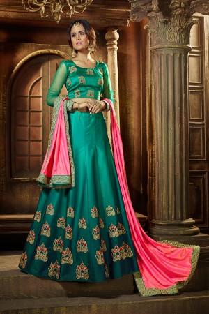 Amiable Rama Green Satin Silk Designer Heavy Embroidery and Stone Work Lehenga choli