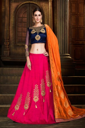 Breezy RaniPink Raw Silk Designer Heavy Embroidery and Stone Work Lehenga choli