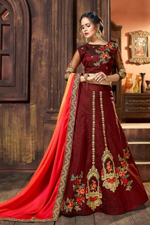 Versatile Dark maroon Raw Silk Designer Heavy Embroidery and Stone Work Lehenga choli