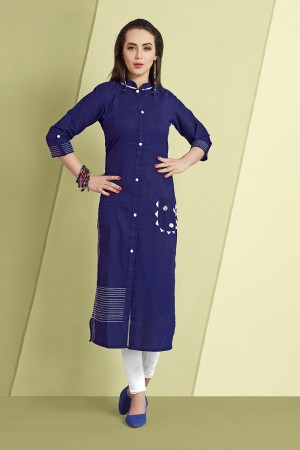 Awesome Blue Slub Cotton Kurti with Fancy Botton and Pompom