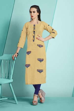 Eye catching Cream Slub Cotton Kurti with Fancy Botton and Pompom