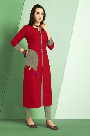 Tremendous Red Slub Cotton Kurti with Fancy Botton and Pompom