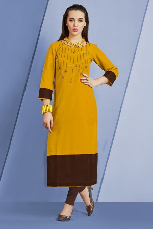 Elegant Mustard Slub Cotton Kurti with Fancy Botton and Pompom
