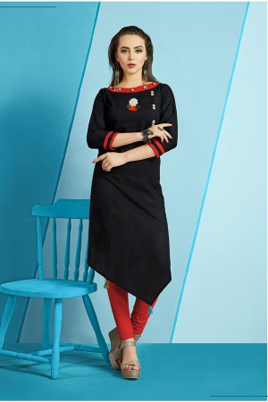 Dynamic Black Slub Cotton Kurti with Fancy Botton and Pompom