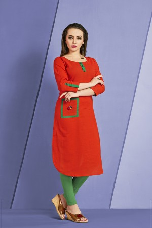 Outstanding Red Slub Cotton Kurti with Fancy Botton and Pompom