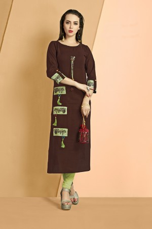 Delusive Brown Slub Cotton Kurti with Fancy Botton and Pompom