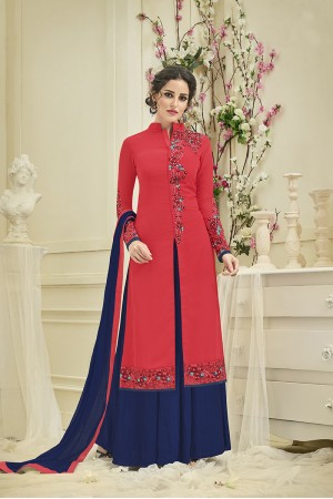 Decent Red Georgette Heavy Embroidery on Neck and Sleeve Salwar Kameez