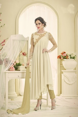 Exquisite Cream Georgette Heavy Embroidery on Neck and Sleeve Salwar Kameez