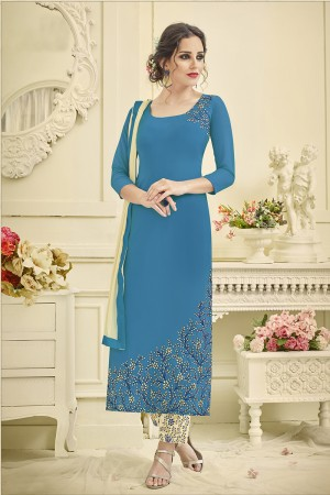 Contemporary Sky Blue Georgette Heavy Embroidery on Top and Embroidery on Bottom Salwar Kameez