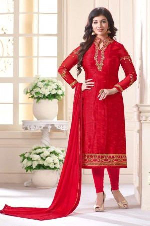Ayesha Takia Red Brasso Heavy Embroidery on Neck and Sleeve Salwar Kameez