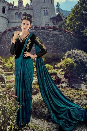 Breezy Aqua & Black Lycra  Heavy Zari, Sequance and Khatali work on Embroidery Gown