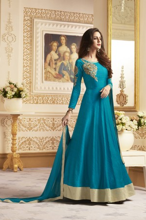 Glitzy Aqua Banglori Silk Heavy Embroidery Anarkali Salwar Suit