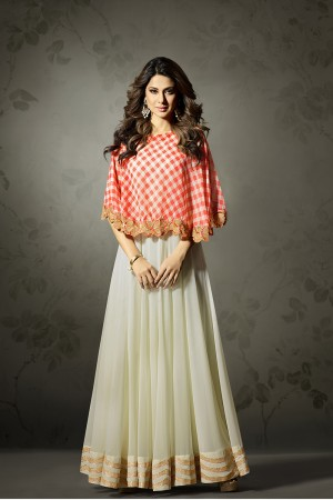 Jennifer Winget OffWhite Printed Georgette Sequance, Zari and Resham Work on Printed Cap Salwar Kameez