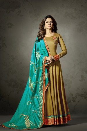 Jennifer Winget Mustard Banarasi Silk Resham Work and Zari Work with Gold Printed Dupatta Salwar Kameez
