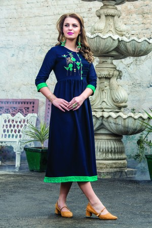 Pristine Denim Doby Blue Embroidery with Pompom Kurti