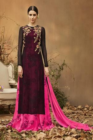 Ethnic Pink & Black Georgette Heavy Gota Embroidery  Salwar Kameez