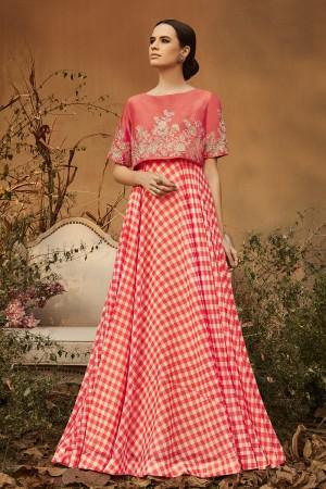 Engrossing Pink Georgette Heavy Gota Embroidery  Salwar Kameez