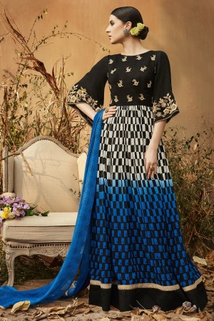 Astounding Black & Blue Georgette Heavy Gota Embroidery  Salwar Kameez