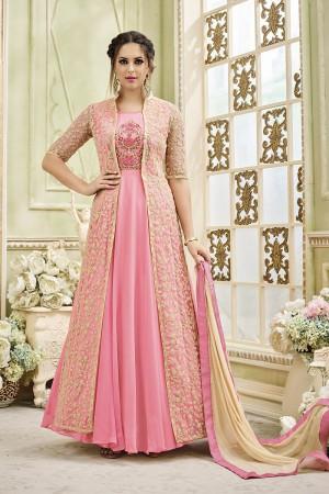 Designer Pink Georgette Heavy Embroidery Coding Work   Salwar Kameez