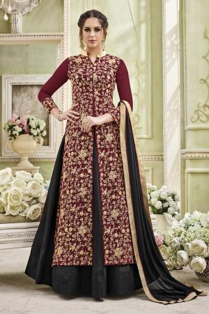 Beguiling Maroon Georgette Heavy Embroidery Coding Work   Salwar Kameez