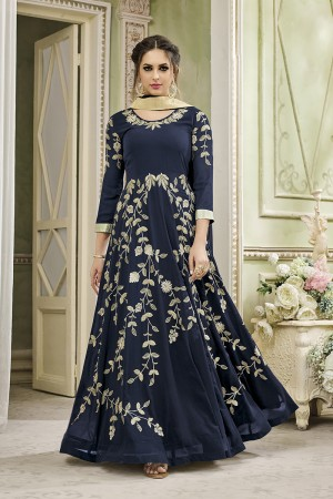 Enriching Blue Georgette Heavy Embroidery Zari Work   Salwar Kameez