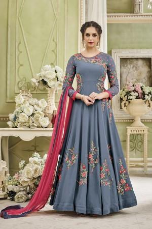 Fantastic Grey Georgette Heavy Embroidery Thread and Diamond Work   Salwar Kameez