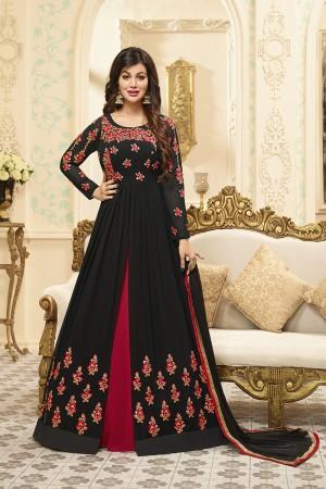 Ayesha Takia Black Georgette Heavy Embroidery Work   Salwar Kameez