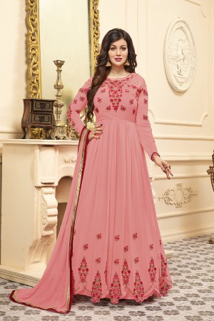 Ayesha Takia Pink Georgette Heavy Embroidery Work   Salwar Kameez