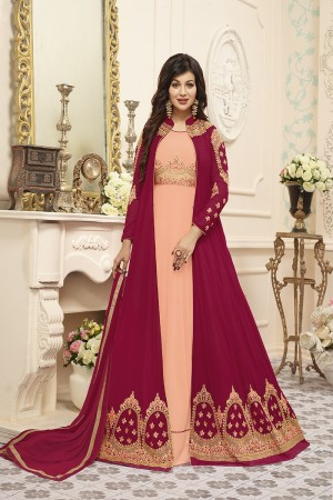 Ayesha Takia Light Orange&Maroon Georgette Heavy Embroidery Work  Salwar Kameez