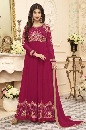 Ayesha Takia Rani Pink Georgette Heavy Embroidery Work   Salwar Kameez
