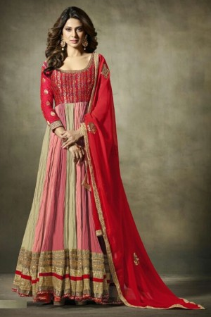 Jennifer Winget Pink Georgette&Jacquard Hand Crafted Embroidery with Antique Beads Neckline, Jaipuri Gotta and leather motifs with Glitter Salwar Kameez